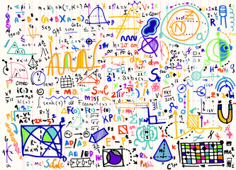 Physical formulas and phenomenons on note paper. hand-drawn illu