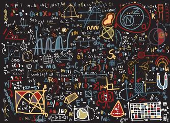Physical formulas and phenomenons. hand-drawn illustration. scie