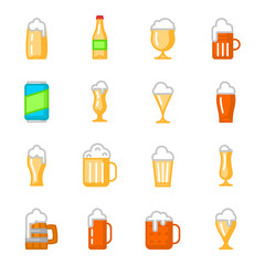 Beer glassware flat icons