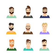 Man Avatars Hypsters with Various Hair Style and Beard. Vector