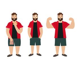 Man Figure Fat Normal Slim. Vector