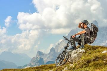 Biker on the Mountain Trail