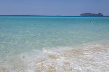 Falasarna beach, Crete island, Greece, turquoise sea and waves