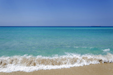 Falasarna beach, Crete island, Greece, turquoise sea and waves