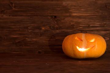 Jack O Lantern. One halloween pumpkin.