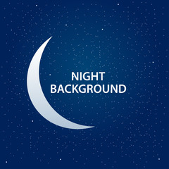 Night sky background with half moon and stars. Moonlight night vector illustration