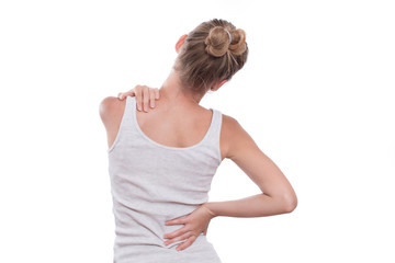 Woman with back pain, isolated on white background