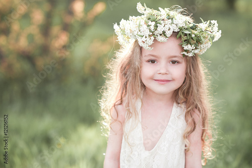 """""""Smiling baby girl 4-5 year old wearing white dress and ...  """"Smiling b..."""
