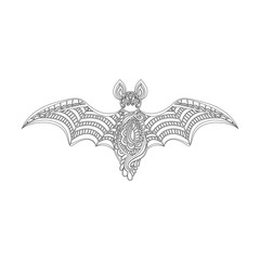 Сontour bat. Hand drawn sketch for adult anti stress coloring page