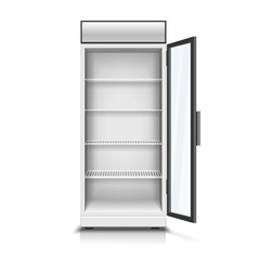 Modern vertical refrigerator with open transparent front panel isolated vector 3D Illustration