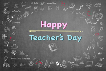 Happy teacher's day concept with smiley face icon on black chalkboard and doodle freehand sketch chalk drawing: Students sending greeting message to school teachers/ academia on special occasion
