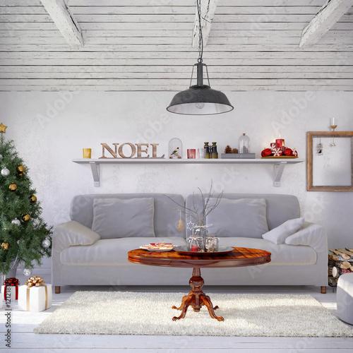 Skandinavisches, nordisches Wohnzimmer mit einem Sofa und ...