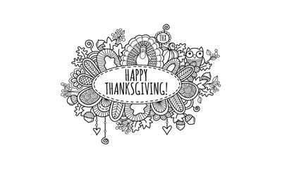 Happy Thanksgiving Hand Drawn Doodle Vector Black And White