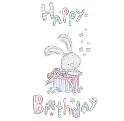 Cute hare in the box. Birthday gift. Vector illustration for a card or poster. Print on clothes.
