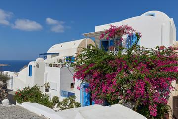 Beautiful streets of oia village Santorini