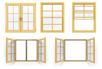 collection of wooden windows 3d render isolated on white backgro