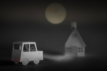 Creative idea concept painting.Paper forms a special car.Cars driving home in the dark, scary house on Halloween night .The image created in the imagination.Holiday season