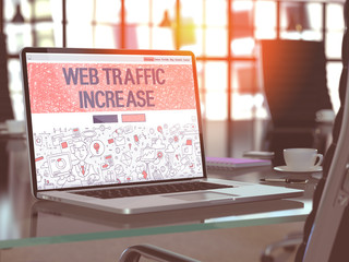 Web Traffic Increase Concept on Laptop Screen. 3D.
