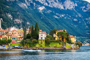 View of scenic Varenna town, Como lake, Italy.