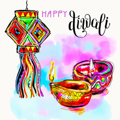 Happy Diwali watercolor greeting card to indian fire festival wi