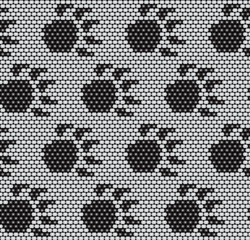seamless pattern with animal paw beads
