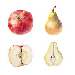 Set of watecolor fruit clipart