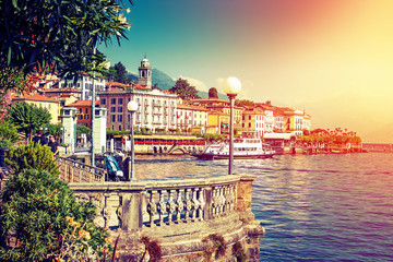 Picturesque Como lake and Bellagio town in summertime, Italy.
