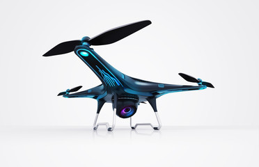 isolated modern camera drone on white