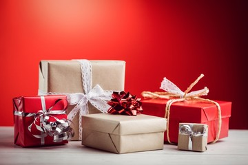 Composite image of presents on a table