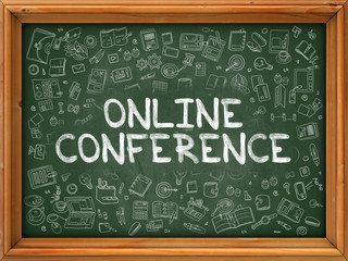 Hand Drawn Online Conference on Green Chalkboard.