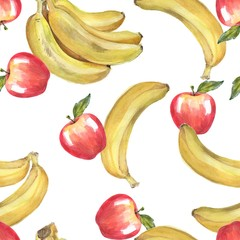 Watercolor bananas and apples. Seamless pattern . Watercolor