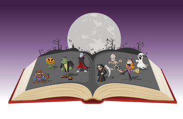 Open book with full moon over a cemetery with funny cartoon classic monster characters. Halloween background.