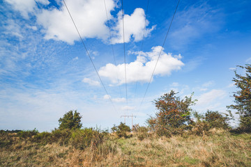 Electrical wires on a pylon
