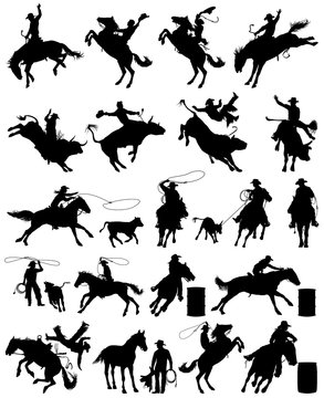 Cowboy and cowgirl rodeo vector silhouettes collection