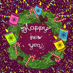 Creative hand drawn doodle style illustration of Cute holiday symbols, for Merry Christmas and Happy New Year celebration