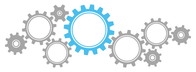 Gears Border Graphics Grey/Blue Fototapete