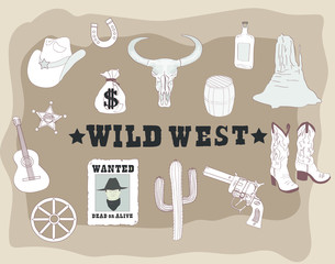 Large collection of cowboy accessories. Set of wild west cowboy