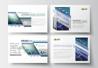 Set of business templates for presentation slides. Easy editable abstract layouts in flat design. DNA molecule structure, science background. Scientific research, medical technology