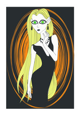 Cartoon goth girl with big green eyes and long blonde hair - Got