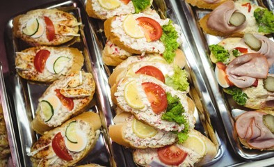 Close-up of appetizers in a tray