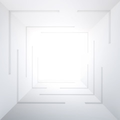 3d illustration. White square tunnel in perspective with the lighting in the middle, inside view. The image of the well, a multistory building. Render, space for text.