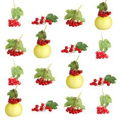 Осеняя композиция ягоды и яблок.