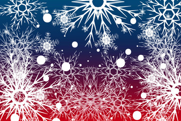 snowflake on red, blue background. Christmas vector pattern design for greeting card