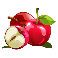 Ripe red apples and half one