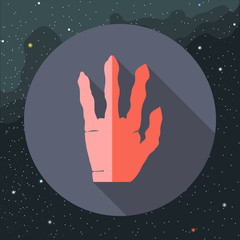Digital vector with red alien hand with four fingers sign, over background with stars, flat style