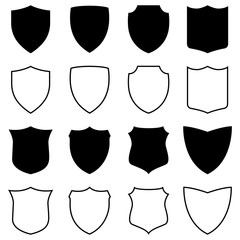 Set of silhouettes and outlines of shields, vector illustration