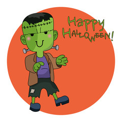 Cute Halloween character Frankenstein flat design vector Illustration. Text Happy Halloween.