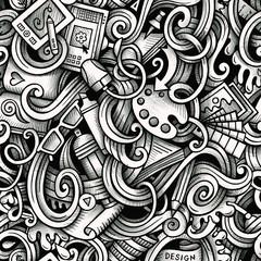 Cartoon hand-drawn doodles Design and Art seamless pattern