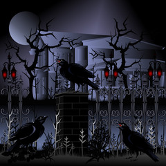 Halloween. Haunted house with fence and ravens. Hand drawn vector illustration.