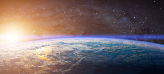 Planet Earth with appearing sunbeam light. Elements of this image are furnished by NASA
